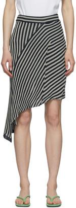Eckhaus Latta Black and Beige Serpentine Stripe Skirt