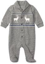 Ralph Lauren Terry Button-Front Intarsia Footie Pajamas, Gray, Size 3-9 Months
