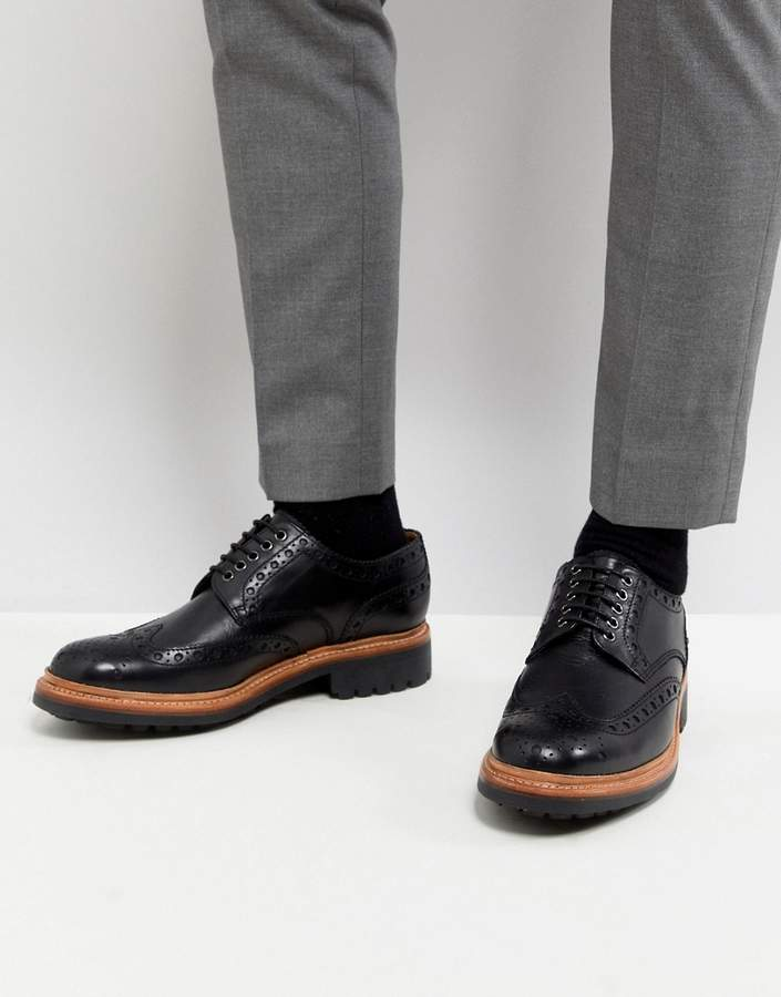 Grenson Archie Chunky Brogue Shoes In Black