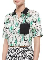 Veronica Beard Printed Stretch-Silk Crop Top