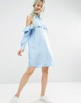 Asos Cold Shoulder Frill Sleeve Cotton Shirt Dress