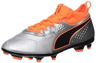 Puma Men's One 3 LTH Fg Footbal Shoes, Silver-Shocking Orange Black