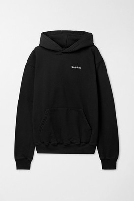 Sporty & Rich Embroidered Cotton-jersey Hoodie - Black
