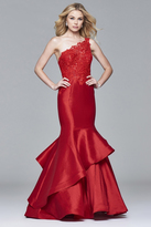 Faviana 7970 Long taffeta dress with one-shoulder sequined lace bodice