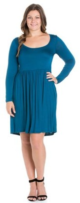 24/7 Comfort Apparel 24/7 Women's Plus Size Comfort Apparel Casual Long Sleeve Pleated Plus Size Dress