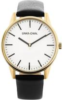 UNKNOWN The Classic Leather Watch- Black/Gold