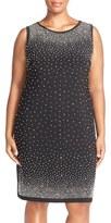 Chetta B Plus Size Women's Embellished Jersey Sleeveless Sheath Dress