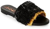 Rochas Black & Gold Tinsel Fringe Flat Slides