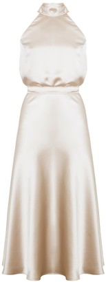 Undress Noma Champagne Halter Neck Midi Dress With Back Ribbons