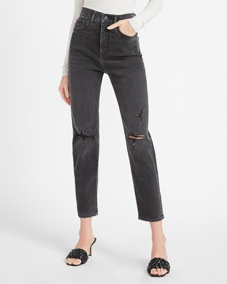 Express Super High Waisted Black Ripped Slim Ankle Jeans