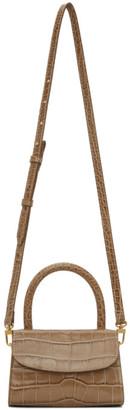 BY FAR Taupe Mini Croc Top Handle Bag