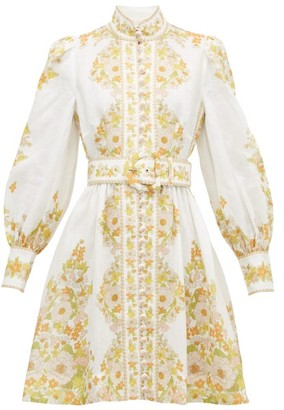 Zimmermann Super Eight Floral-print Linen Shirt Dress - White Print