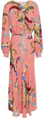 Stella Jean Gathered Printed Crepe Midi Dress