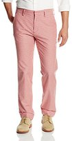 Haggar Men's Vintage Slim Fit Flat Front Red Plaid Pant