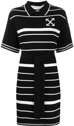 Off-White Striped Collared Dress