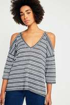 Urban Outfitters Striped Waffle Weave Cold Shoulder Top