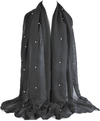 GFM Beautiful Pearl Embellished Sheer Fabric Evening Scarf (PL100-KL)