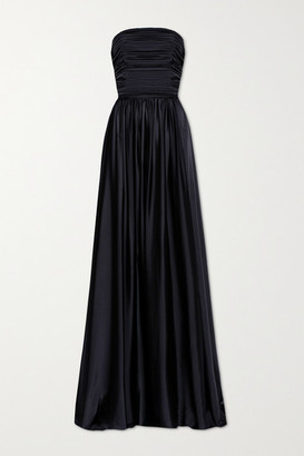 Alexandre Vauthier Strapless Pleated Satin Gown - Midnight blue
