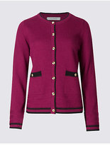 Classic Lambswool Blend Contrasting Edge Cardigan