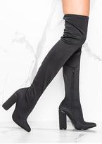 Missy Empire Natalia Black Over Knee Heeled Boots