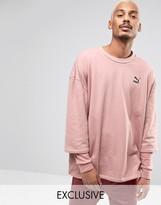 Puma Double Sleeve Crew Sweatshirt in Pink Exclusive to ASOS