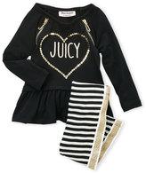 Juicy Couture Girls 4-6x) Two-Piece Sequin Ruffle Tunic & Stripe Leggings Set