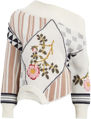 Monse Embroidered Floral Asymmetrical Sweater