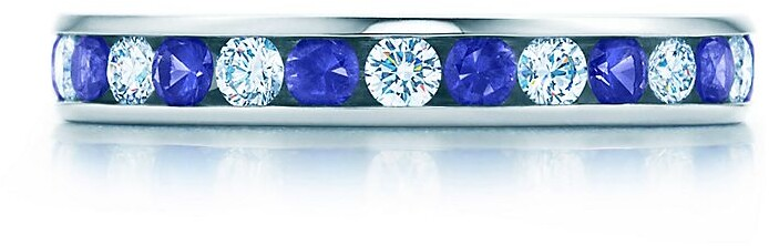 Tiffany & Co. Channel-set diamond and sapphire band ring