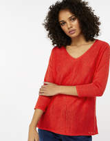 Monsoon Cindy V Neck Linen Blend Jumper