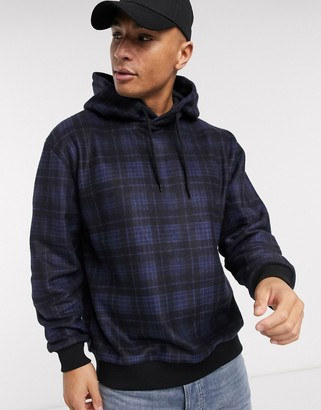 Topman brushed hoody in navy check