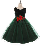 Green Velvet Rose-Applique Sleeveless Dress - Toddler & Girls