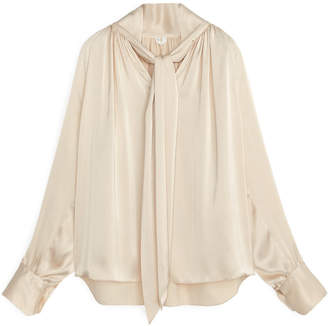 Arket Tie Neck Satin Blouse