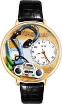 Whimsical Watches Personalized Music Lover Womens Gold-Tone Bezel Black Leather Strap Watch