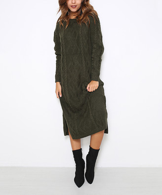 Fashion Inn Women's Sweater Dresses Khaki - Olive Side-Slit Cable-Knit Midi Dress - Women