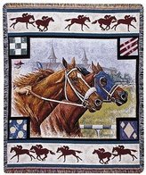 Simply Home Day at The Races Tapestry Throw Blanket