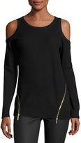 MICHAEL Michael Kors Zip-Hem Cold-Shoulder Sweater