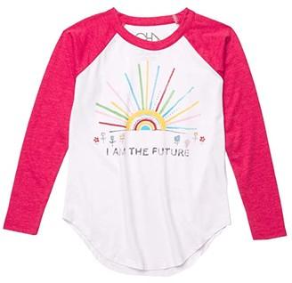 Chaser Recycled Vintage Jersey Long Sleeve Baseball T-Shirt (Little Kids/Big Kids) (White/Strawberry) Girl's Clothing