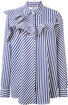 MSGM striped frill-trim shirt - women - Cotton - 38
