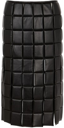 A.W.A.K.E. Mode Black quilted faux leather midi skirt