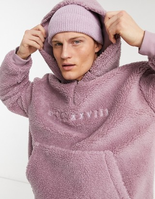 Topman borg 1/4 zip hoodie in lilac