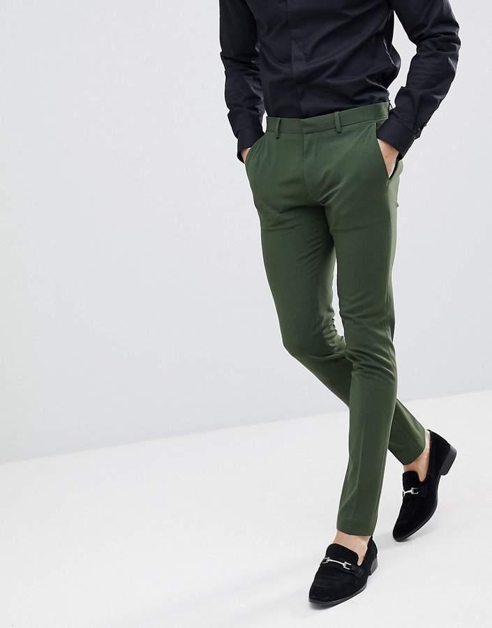 Asos Design Super Skinny Suit Pants In Khaki