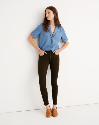 """Madewell 9"""" Mid-Rise Skinny Jeans: Garment-Dyed Button-Front Edition"""