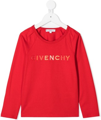 Givenchy Kids logo print long sleeved T-shirt