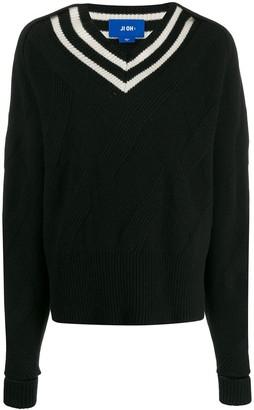 Ji Oh Stripe-Detail Sweater