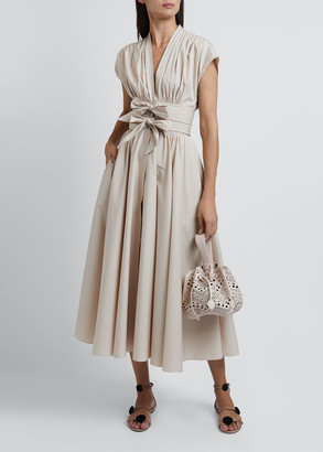 Alaia Short-Sleeve Poplin Dress with Two-Bow Waist Detail