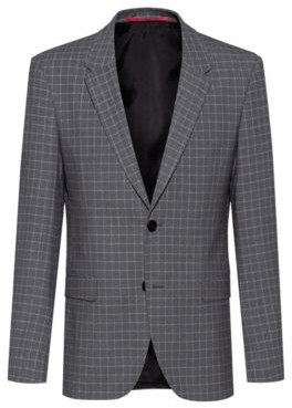 HUGO BOSS Slim Fit Jacket In Bi Stretch Patterned Fabric - Silver