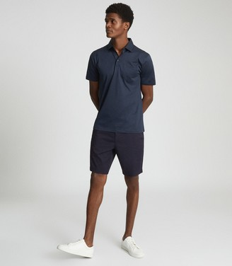 Reiss ELLIOT MERCERISED EGYPTIAN COTTON POLO French Blue