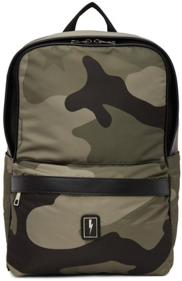 Neil Barrett Khaki Eco-Leather Camo Backpack