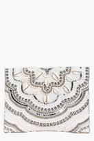 boohoo Ava Bridal Bead & Shell Scallop Edge Clutch cream