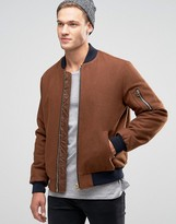 Asos Wool Mix Bomber Jacket With Ma1 Pocket In Dark Rust